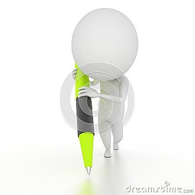 Carattere con una penna