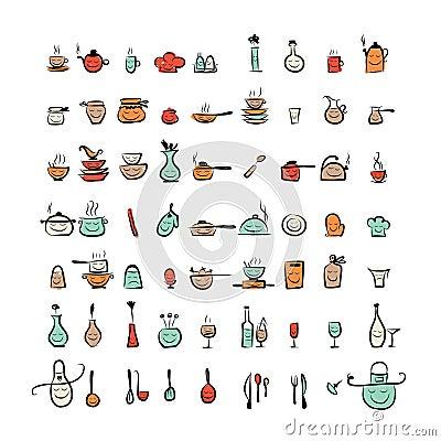Caratteri degli utensili della cucina icone del disegno for Oggetti da cucina