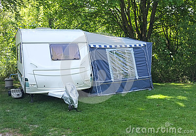 Caravan and Awning, Woodland Camping