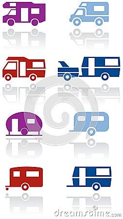 Caravan or camper van vector symbol set.
