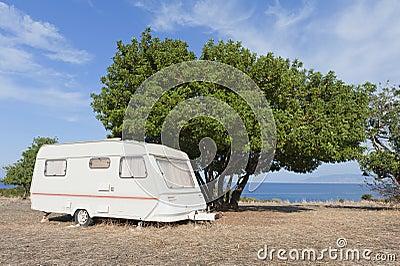 Caravan on camping by the sea