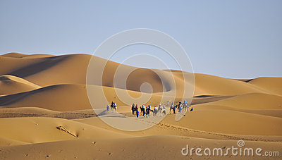 Caravan at dunes Editorial Stock Image