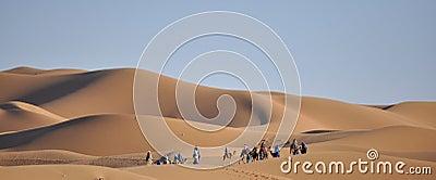 Caravan at dunes Merzouga,Morocco Editorial Photography