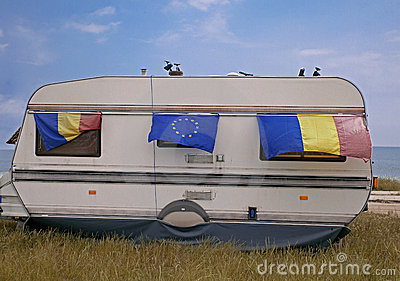 Caravan with flags Stock Photo
