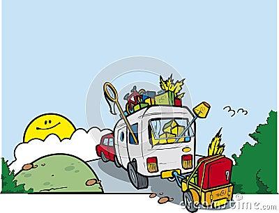 Caravan on a hill