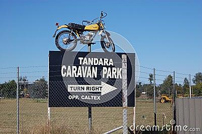 Caravan park entrance road sign Editorial Photo