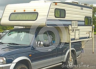 Caravan on a pickup truck.