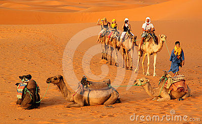 Caravan among the sand dunes Editorial Stock Photo