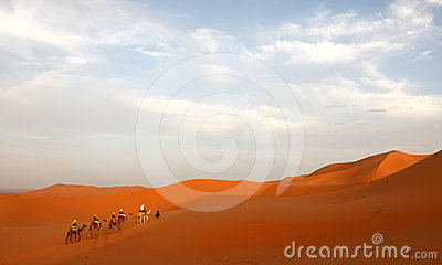 Caravan among the sand dunes Editorial Image