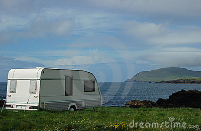 Caravan seaside camping vacation