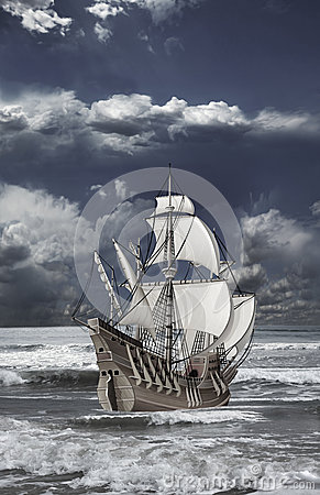Caravel floating on the waves of sea