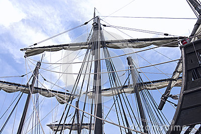 Caravel Ship Masts Sails and Ropes