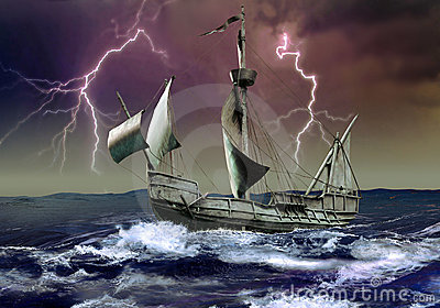 Caravel under the storm