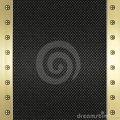 Carbon fibre gold metal background