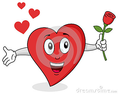 Carácter rojo divertido del corazón