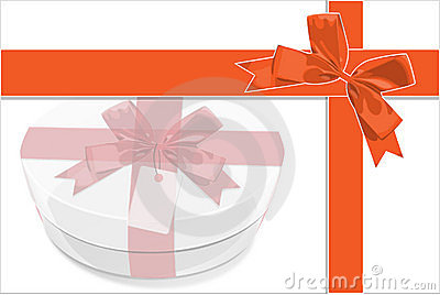 A card be painted white gift Box with red bow
