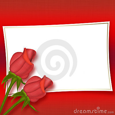 Card with beautiful red roses