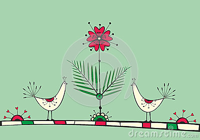Card with birds and love Flower