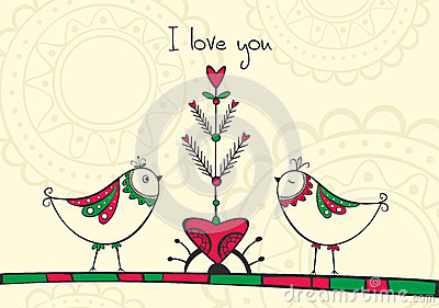 Card with birds and love Tree