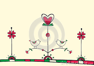 Card with birds on love Tree