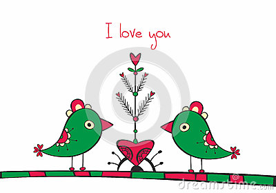 Card with birds and love Tree on white background