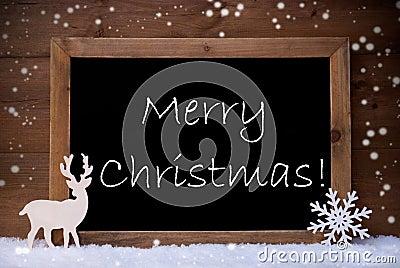 Card, Blackboard, Snowflakes, Reindeer, Merry Christmas Stock Photo