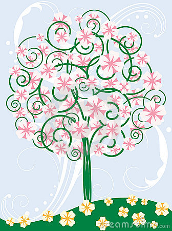 Card with blooming tree