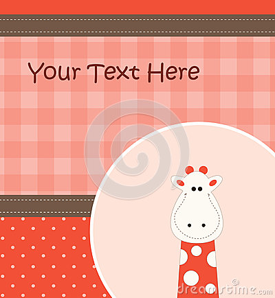 Card with cartoon giraffe