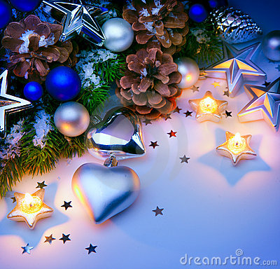 Card Christmas decorations blue background