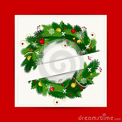 Card with christmas wreath for your design