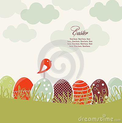 Card with Easter eggs and bird