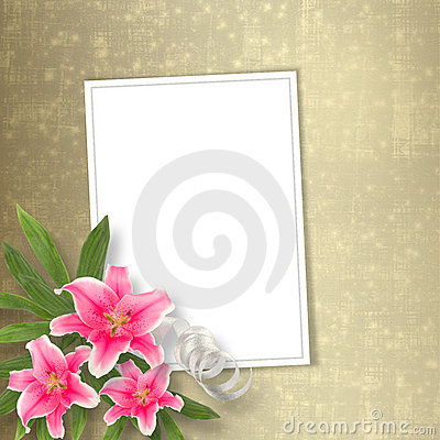 Card for congratulation with bunch of flowers