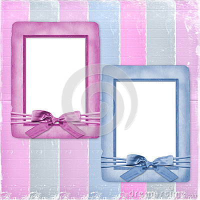 Card for congratulation with frames and bows