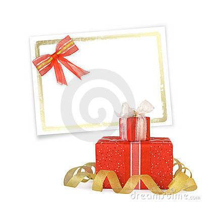 Card for congratulation with gift boxes