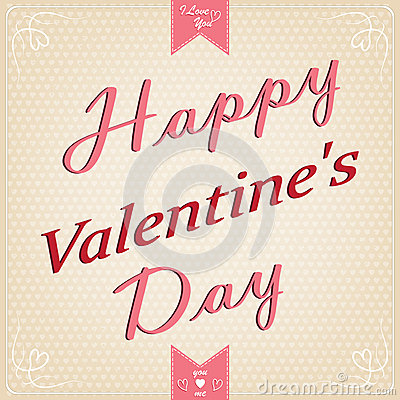 Card with congratulation lettering of Happy Valent