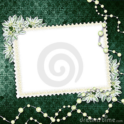 Card for congratulation with pearls
