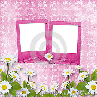 Card for congratulation with pink slides