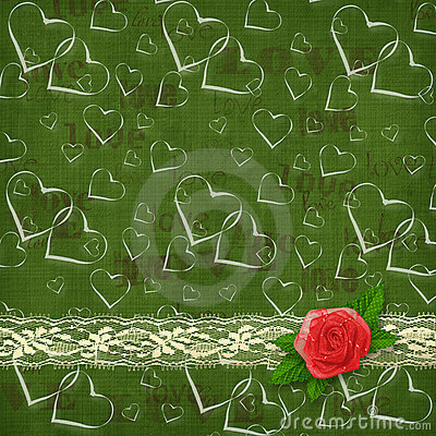Card for congratulation with red rose and hearts