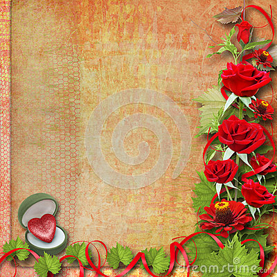 Card for congratulation with red roses