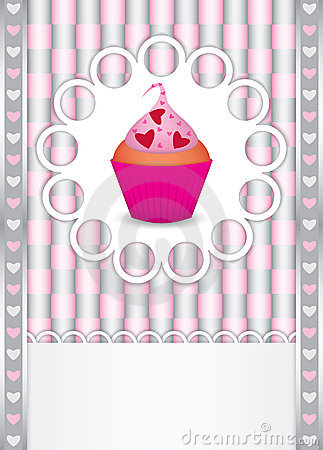 Card with cupcake and hearts