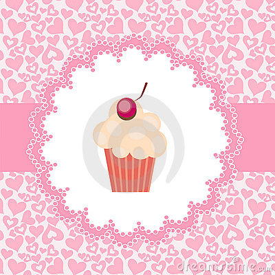 Card with cupcake.  illustration