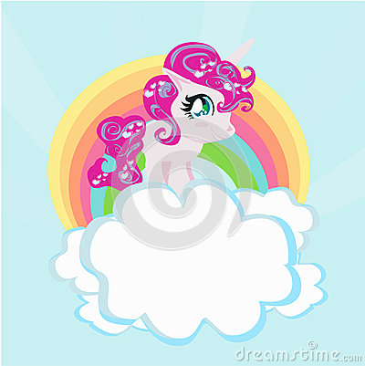 Card With A Cute Unicorn Rainbow In The Clouds Stock