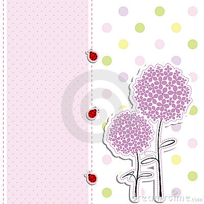 Card design purple flower polka dot background