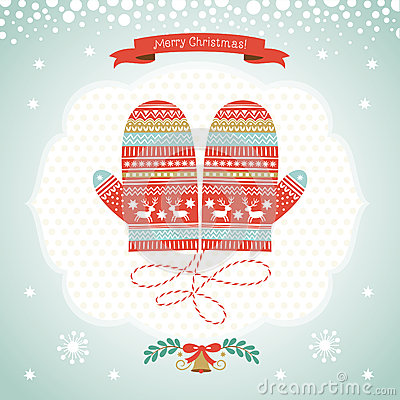 Free Card Design With Christmas Mittens Royalty Free Stock Photos - 35299258