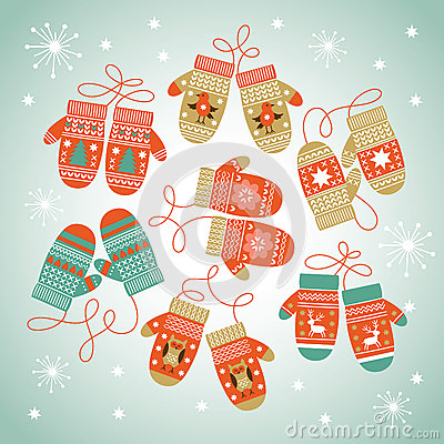 Free Card Design With Christmas Mittens Royalty Free Stock Images - 35299269