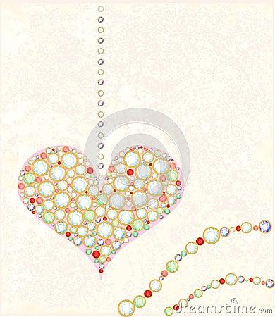 card with diamond heart