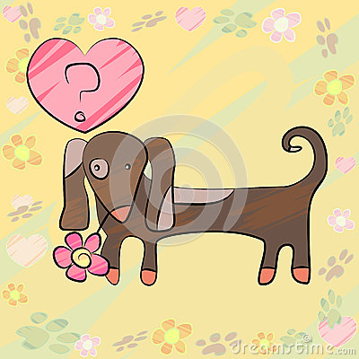 Card with dog and heart
