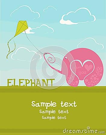 Card with an elephant lover
