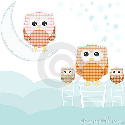 Card with family owls on sky over cloud