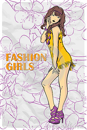 Card with fashion girl.